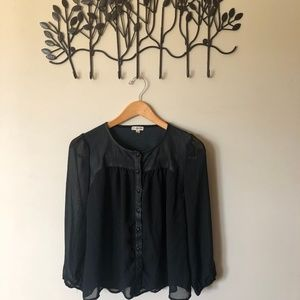 Black Leather/Sheer Top
